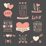 Colección de los elementos del diseño del día de tarjetas del día de San Valentín Imagen de archivo libre de regalías