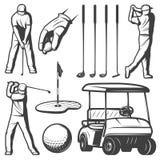Colección de los elementos del golf del vintage Imagenes de archivo