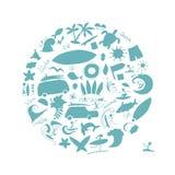 Colección de los iconos que practica surf para su diseño Imagenes de archivo