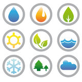 Colección de los símbolos de la energía, de la naturaleza y del ambiente Imagen de archivo