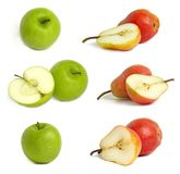 Colección de manzanas y de peras Imagenes de archivo