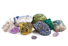 Colección de minerales aislados Fotografía de archivo libre de regalías