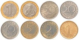 Colección de monedas búlgara del lev Foto de archivo
