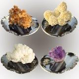 Colección de muestras de minerales, aragonite, calcita, amatista, Fotos de archivo libres de regalías