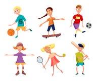 Colección de niños felices lindos que juegan deportes Cabritos activos Ilustración del vector Fotografía de archivo