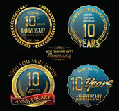 Colección de oro de la etiqueta del aniversario 10 años Fotografía de archivo libre de regalías