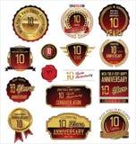 Colección de oro de las etiquetas del aniversario 10 años Imagen de archivo libre de regalías