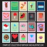 Colección de sellos del cumpleaños y de la tarjeta del día de San Valentín Fotografía de archivo libre de regalías