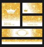Colección de tarjetas del brillo Superficies de oro decorativas Foto de archivo libre de regalías