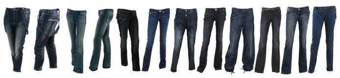 Colección de varios tipos de pantalones de los tejanos Imagen de archivo libre de regalías
