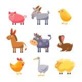 Colección del animal del campo Conjunto de la ilustración del vector Fotografía de archivo