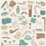 Colección del doodle de los accesorios de los caballeros Fotos de archivo