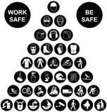 Colección del icono de salud y de la seguridad de la pirámide Imágenes de archivo libres de regalías