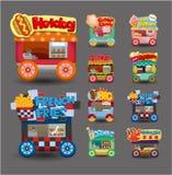 Colección del icono del coche del almacén del mercado de la historieta Fotografía de archivo libre de regalías