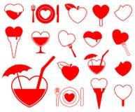 Colección del icono del corazón - food/b Imágenes de archivo libres de regalías