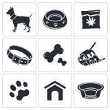 Colección del icono del perrito Fotografía de archivo