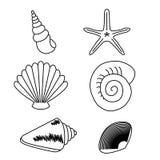 Colección del mar Ejemplo dibujado mano original Fotos de archivo libres de regalías