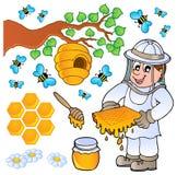 Colección del tema de la abeja de la miel Foto de archivo libre de regalías