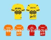 Colección del uniforme del fútbol americano, camiseta Foto de archivo