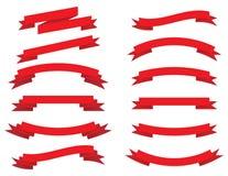 Colección del vector: cintas rojas Foto de archivo libre de regalías