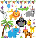 Colección del vector de animales temáticos de la selva de la fiesta de cumpleaños Fotografía de archivo libre de regalías