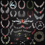 Colección del vector de laureles temáticos del día de fiesta de la Navidad de la pizarra Imágenes de archivo libres de regalías