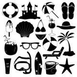 Colección del vector de los iconos del verano Fotos de archivo