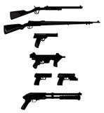 Colección del vector de siluetas del arma Foto de archivo libre de regalías
