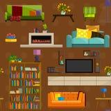 Colección del vector de sistema plano moderno del icono de los muebles Fotografía de archivo