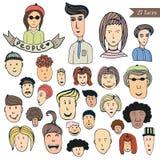 Colección dibujada mano del garabato de la muchedumbre de la gente de avatares Sistema del vector de la gente de la historieta Ic Fotografía de archivo libre de regalías