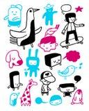 Colección divertida de los caracteres Foto de archivo libre de regalías