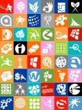 Colección enorme de insignias y de iconos del asunto Fotos de archivo libres de regalías