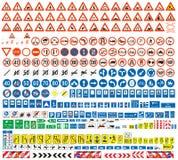Colección europea de las señales de tráfico Fotos de archivo libres de regalías
