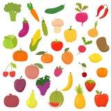 Colección grande de verduras y de frutas Alimento sano Imagen de archivo libre de regalías