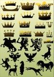 Colección heráldica de los símbolos en fondo ligero Imagenes de archivo