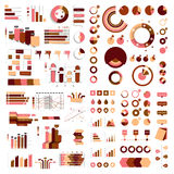 Colección mega de cartas, de gráficos, de organigramas, de diagramas y de elementos del infographics Imagen de archivo libre de regalías