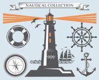 Colección náutica de los elementos Imagen de archivo