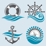 Colección náutica de los elementos Foto de archivo