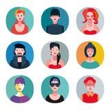 Colección plana de los avatares Imagenes de archivo