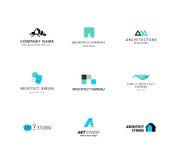 Colección plana del logotipo de la compañía de la arquitectura del vector Imagen de archivo libre de regalías