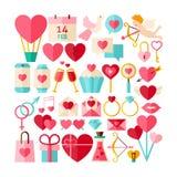 Colección plana grande del vector del estilo de Valentine Day Objects Imágenes de archivo libres de regalías