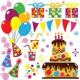 Colección retra de la celebración del cumpleaños Imagen de archivo libre de regalías