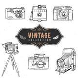 Colección retra de la cámara del vintage vieja Vector drenado mano Imagen de archivo