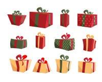 Colecciones coloridas de la caja de regalo Fije de vector plano de las actuales cajas Feliz cumplea?os Feliz Navidad Regalos con  ilustración del vector