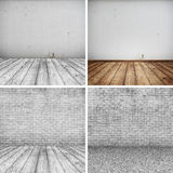 Colection of Concrete brick walls and wood floor for text and background Stock Photo