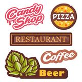 Colection vector emblems - isolated labels vector illustration. Logo for pizza, candy shop, beer, coffee, restourant. stock photo