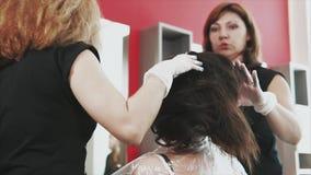 Colectividad de los peluqueros que colorean el pelo de los clientes almacen de video