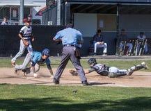 Colector del béisbol en la acción Fotografía de archivo