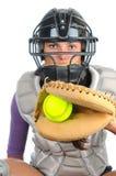 Colector femenino del beísbol con pelota blanda Fotos de archivo libres de regalías
