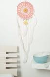 Colector ideal rosado con las plumas blancas Fotos de archivo libres de regalías